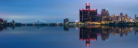 Detroit, Michigan skyline. At night shot from Windsor, Ontario, USA stock photo