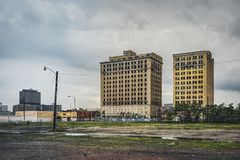 Detroit, Michigan, United States - March 09 2018 : View of Temple Street with Temple Hotel in Brush Park and Midtown in. Detroit in Michigan, USA. Detroit is stock photo