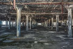 Detroit, Michigan, United States - October 18 2018: View of the abandoned Fisher Body Plant in Detroit. The Fisher Body. Plant sprawls multiple city blocks and stock photography