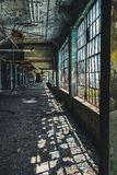 Detroit, Michigan, United States - October 18 2018: View of the abandoned Fisher Body Plant in Detroit. The Fisher Body. Plant sprawls multiple city blocks and stock images