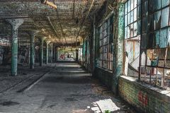 Detroit, Michigan, United States - October 18 2018: View of the abandoned Fisher Body Plant in Detroit. The Fisher Body. Plant sprawls multiple city blocks and stock image