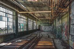 Detroit, Michigan, United States - October 18 2018: View of the abandoned Fisher Body Plant in Detroit. The Fisher Body. Plant sprawls multiple city blocks and royalty free stock images