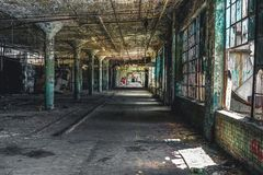 Detroit, Michigan, United States - October 18 2018: View of the abandoned Fisher Body Plant in Detroit. The Fisher Body. Plant sprawls multiple city blocks and stock photos