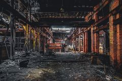 Detroit, Michigan, United States - October 18 2018: View of the abandoned Gray Iron Factory in Detroit. Detroit Gray. Iron Foundry was one of several foundry royalty free stock photo