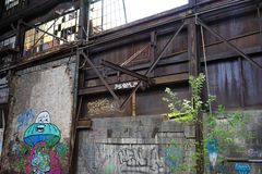 Detroit, Michigan, United States - October 18 2018: View of the abandoned Gray Iron Factory in Detroit. Detroit Gray. Iron Foundry was one of several foundry royalty free stock photography