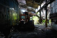 Detroit, Michigan, United States - October 18 2018: View of the abandoned Gray Iron Factory in Detroit. Detroit Gray. Iron Foundry was one of several foundry stock photos