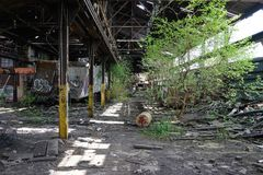 Detroit, Michigan, United States - October 18 2018: View of the abandoned Gray Iron Factory in Detroit. Detroit Gray. Iron Foundry was one of several foundry stock photo