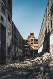 Detroit, Michigan, United States - October 2018: View of the abandoned Packard Automotive Plant in Detroit. The Packard. Plant sprawls multiple city blocks and stock photography