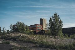 Detroit, Michigan, United States - October 2018: View of the abandoned Packard Automotive Plant in Detroit. The Packard. Plant sprawls multiple city blocks and stock image