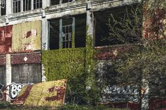 Detroit, Michigan, United States - October 2018: View of the abandoned Packard Automotive Plant in Detroit. The Packard. Plant sprawls multiple city blocks and stock photo