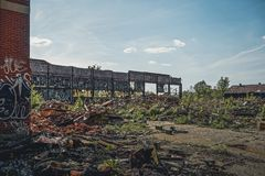 Detroit, Michigan, United States - October 2018: View of the abandoned Packard Automotive Plant in Detroit. The Packard. Plant sprawls multiple city blocks and stock photos