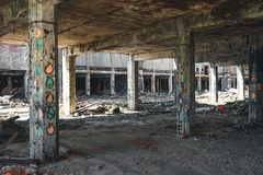 Detroit, Michigan, United States - October 2018: View inside of the abandoned Packard Automotive Plant in Detroit. The royalty free stock images