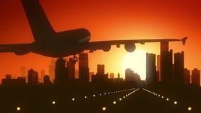 Detroit Michigan USA America Skyline Sunrise Landing royalty free stock image