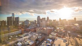 Detroit, Michigan, USA downtown skyline from above stock video