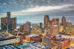 Detroit, Michigan, USA downtown skyline from above royalty free stock photo
