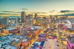 Detroit, Michigan, USA downtown skyline from above stock photography