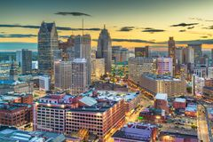 Detroit, Michigan, USA downtown. Skyline from above at dusk stock photography