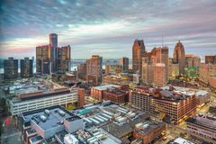 Detroit, Michigan, USA downtown. Skyline from above at dusk royalty free stock photos