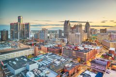 Detroit, Michigan, USA Downtown Skyline at Dusk royalty free stock image