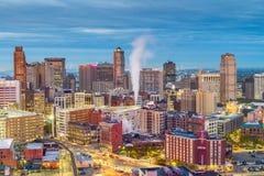 Detroit, Michigan, USA Downtown Skyline at Dusk stock photo