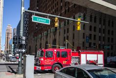 Detroit Fire Department Truck On The Streets Of Downtown Detroit royalty free stock photos