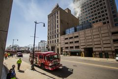 Detroit Fire Department Truck On The Streets Of Downtown Detroit stock images