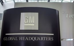 General Motors Global Headquarters Sign And Emblem. Detroit, Michigan, USA - March 28, 2018: General Motors Global Headquarters sign at the Renaissance Center in royalty free stock photos