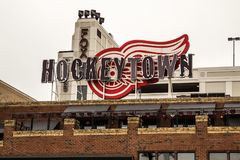 Hockeytown Cafe In Downtown Detroit Michigan. Detroit, Michigan, USA - March 28, 2018: The Hockeytown Cafe has been voted the best sports bar in Detroit. It Royalty Free Stock Photos