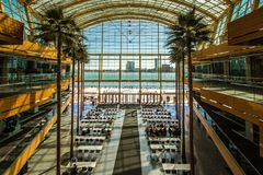 Glass Atrium At Renaissance Center In Downtown Detroit Michigan royalty free stock photos