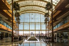 Glass Atrium At Renaissance Center In Downtown Detroit Michigan stock image