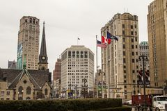 Historic Downtown Detroit Michigan Neighborhood stock image