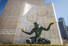 Spirit Of Detroit Art Sculpture In Downtown Detroit Michigan stock images