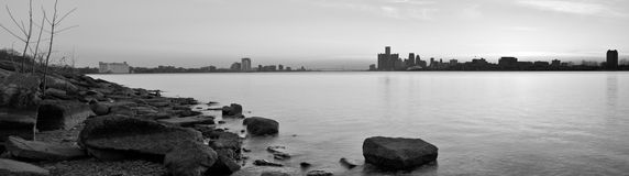Detroit Michigan and Windsor Ontario Skyline Stock Image