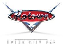 Detroit Motown Sign. Detroit Motown Motor City USA America Vintage Chrome Car Logo Sign Art Classic stock illustration
