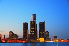Detroit na noite Fotografia de Stock