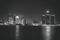 Detroit at Night Black and White Stock Image