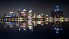Detroit Night Skyline. Detroit, Michigan  night skyline from across the Detroit river Royalty Free Stock Photo