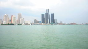 Detroit Over The Border stock footage