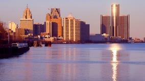 Detroit på flodframdel Arkivbild
