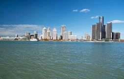 Detroit Panoramic Skyline Shot From Canada November 2017. Waterfront shot of Detroit from across the Detroit River and taken from Canada, November, 2017 Stock Photo