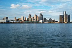 Detroit Panoramic Skyline Shot From Canada November 2017. Waterfront shot of Detroit from across the Detroit River and taken from Canada, November, 2017 Royalty Free Stock Photography