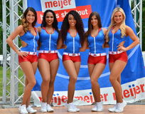 Detroit Pistons Cheerleaders on Belle Isle. Pistons Cheerleaders pose for the cameras at IndyCar race Stock Photos