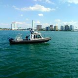 Detroit police Boat. River, canada stock images