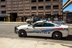 Detroit Police Cruiser On The Street Of Downtown Detroit Stock Image