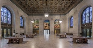 Detroit Public Library. Adam Strohm Hall, the original book delivery room, inside the Detroit Public Library at 5201 Woodward Avenue in Detroit, Michigan Stock Images