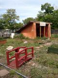 Detroit Public Schools Reality. Priest School gardens and Earthship model in Detroit Michigan. Captured on May 11, 2017 Royalty Free Stock Photo
