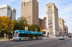 Detroit QLine na avenida de Woodward Fotografia de Stock