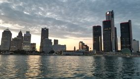 Detroit River City Skyline. Sunset royalty free stock photo