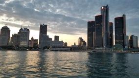 Detroit River City Skyline. Sunset royalty free stock images