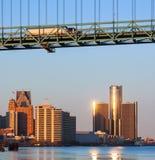 Detroit River front Bridge. Downtown Detroit cityscape on great lakes river bridge trucking stock photos